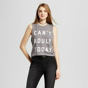 New FIFTH SUN Can't Adult Today Grey Tank